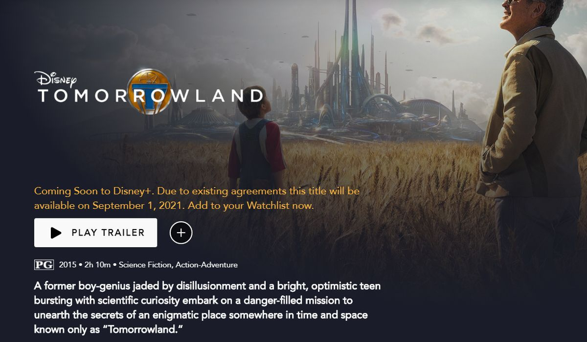 Tomorrowland DIsney+