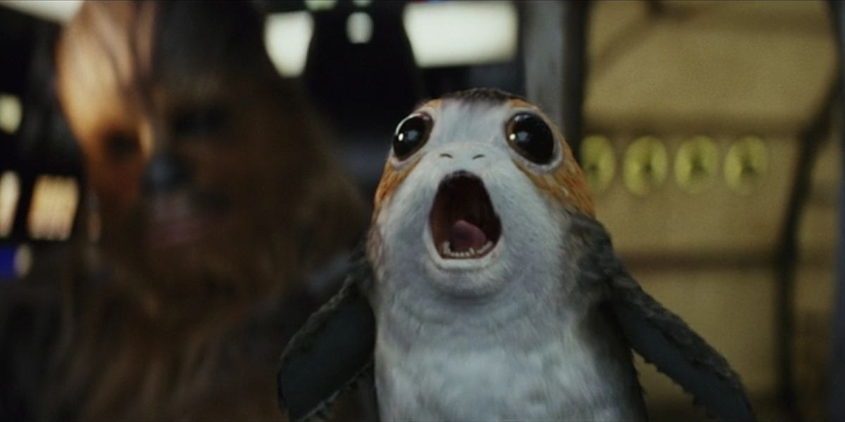 Porg on the Millennium Falcon in Star Wars: The Last Jedi