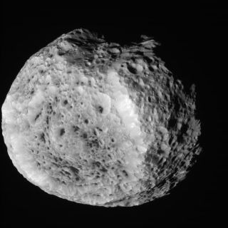 NASA's Cassini spacecraft obtained this unprocessed image of Saturn's moon Hyperion on Aug. 25, 2011.