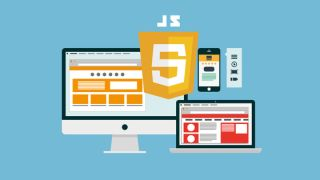 Desktop, mobile and laptop platforms with the JavaScript logo