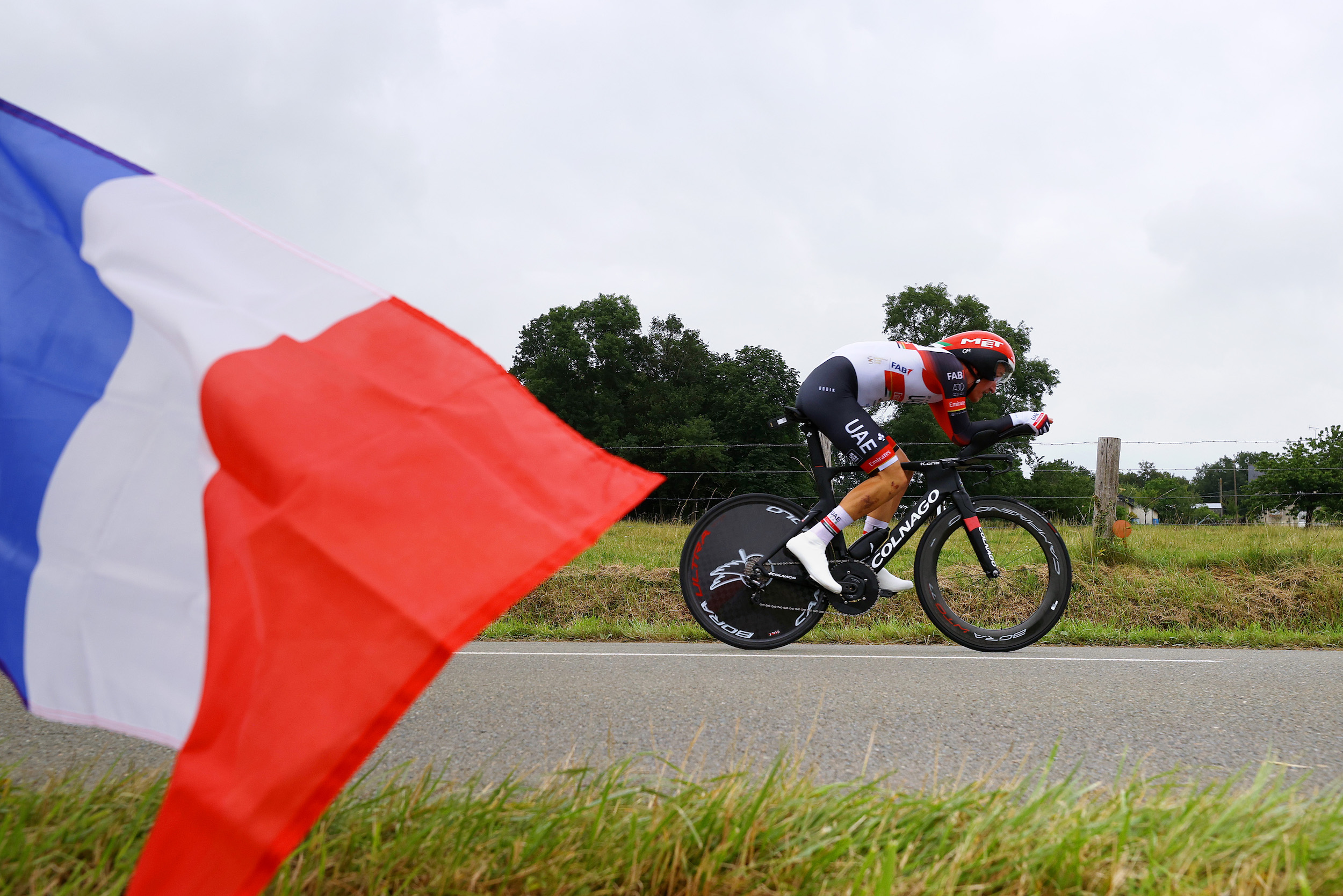 Mikkel Bjerg riding towards the current fastest time on stage five of the Tour de France 2021