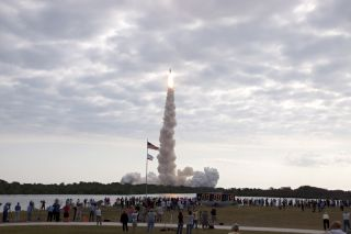 The view of space shuttle Endeavour's last launch from the press site at NASA's Kennedy Space Center on May 16, 2011.