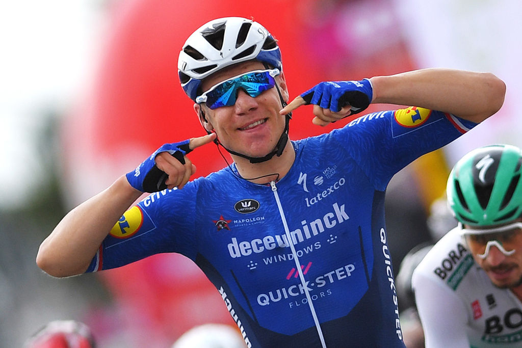 QUAREGNON BELGIUM JULY 24 Fabio Jakobsen of Netherlands and Team Deceuninck QuickStep celebrates at arrival during the 42nd Tour de Wallonie 2021 Stage 5 a 1831km stage from Dinant to Quaregnon tourdewallonie grandprixdewallonie on July 24 2021 in Quaregnon Belgium Photo by Luc ClaessenGetty Images