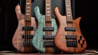 A trio of Spector's new four-string Euro RST bass guitars
