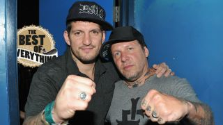 Freddy Cricien of Madball and Roger Miret of Agnostic Front attend the 2012 CBGB Festival on July 5, 2012 in New York City