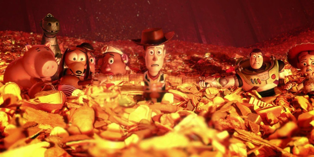 The toys in the trash from Toy Story 3