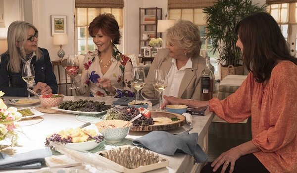 Book Club Diane Keaton Jane Fonda Candice Bergen and Mary Steenburgen chatting around the kitchen is