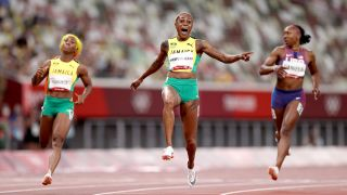 Elaine Thompson-Herah of Team Jamaica celebrates after winning the gold medal in the Women's 100m Final on day eight of the Tokyo 2020 Olympic Games at Olympic Stadium on July 31, 2021 in Tokyo, Japan.