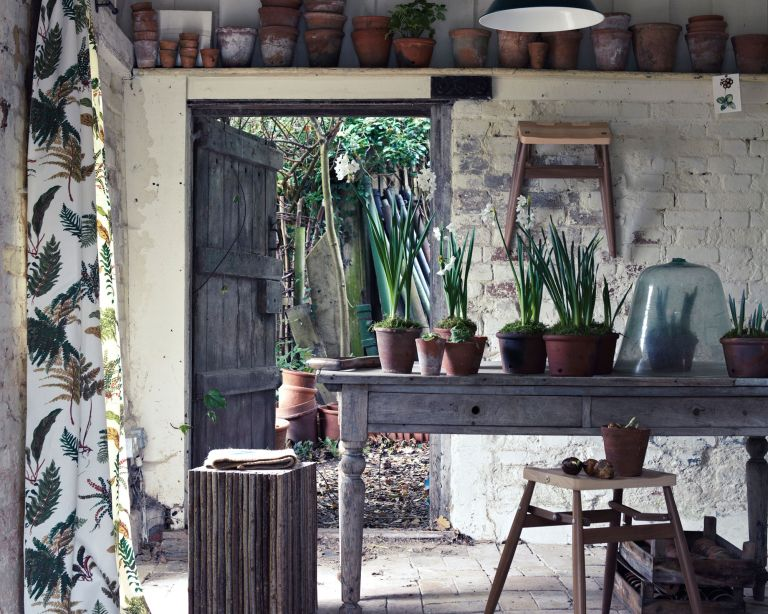 Garden storage ideas with potting shed