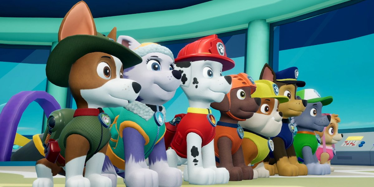 The pups standing in line on Paw Patrol