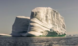Huge icebergs can be seen in Disko Bay, West Greenland.