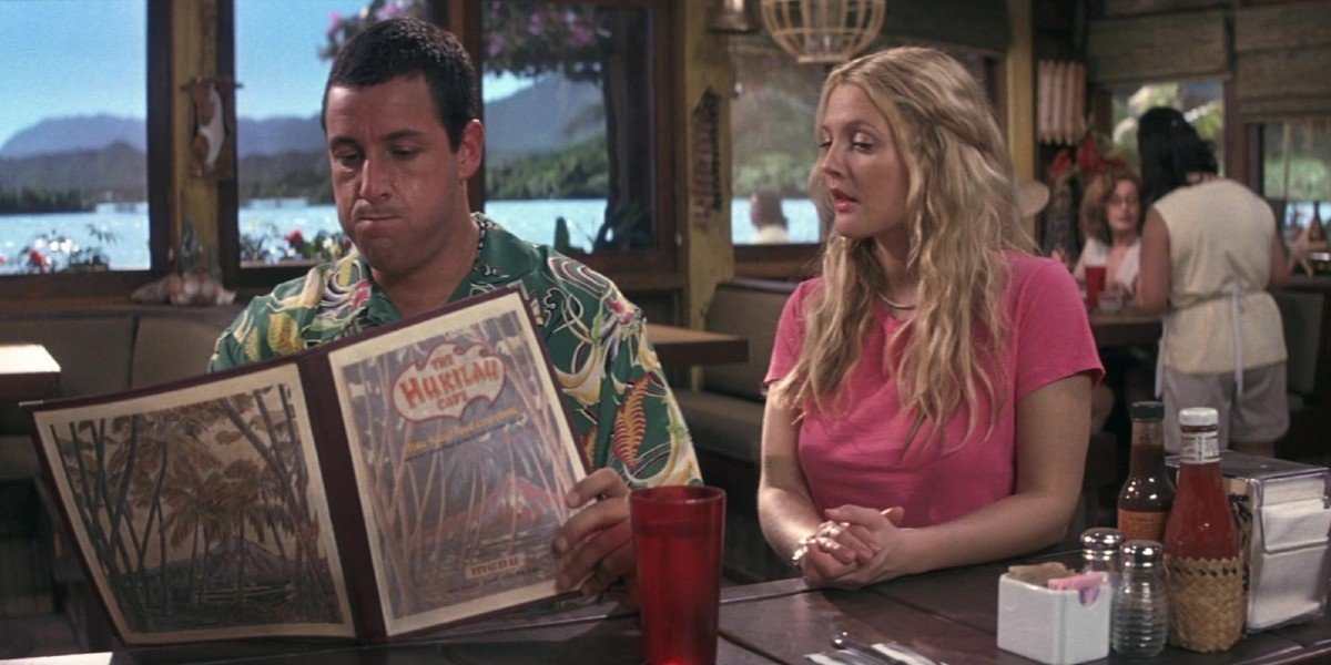 Adam Sandler and Drew Barrymore in 50 First Dates