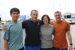 Four members of the NEEMO 15 crew are pictured after they were forced to return to the surface on Oct. 26, 2011, about a week ahead of schedule, due to safety concerns surrounding Hurricane Rina.
