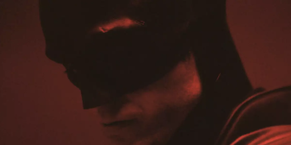 A close-up look at Robert Pattinson wearing Batman's cowl from a promotional teaser video from 'The