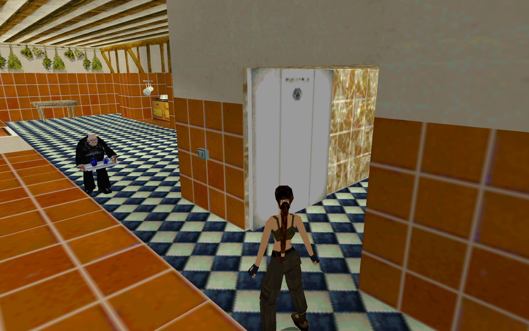 Locking Winston the Butler in the freezer in Tomb Raider 2