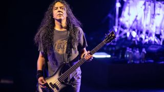Bassist Mike Inez of Alice in Chains performs at Shoreline Amphitheatre on September 04, 2019 in Mountain View, California