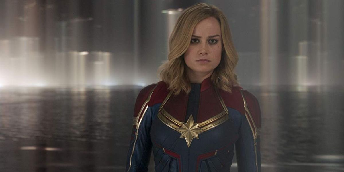 Brie Larson in costume facing off against the villain in Captain Marvel