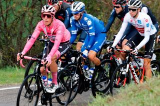 Team Deceuninck rider Portugals Joao Almeida CL wearing the overall leaders pink jersey rides during the 12th stage of the Giro dItalia 2020 cycling race a 204kilometre route between Cesenatico and Cesenatico on October 15 2020 Photo by Luca Bettini AFP Photo by LUCA BETTINIAFP via Getty Images