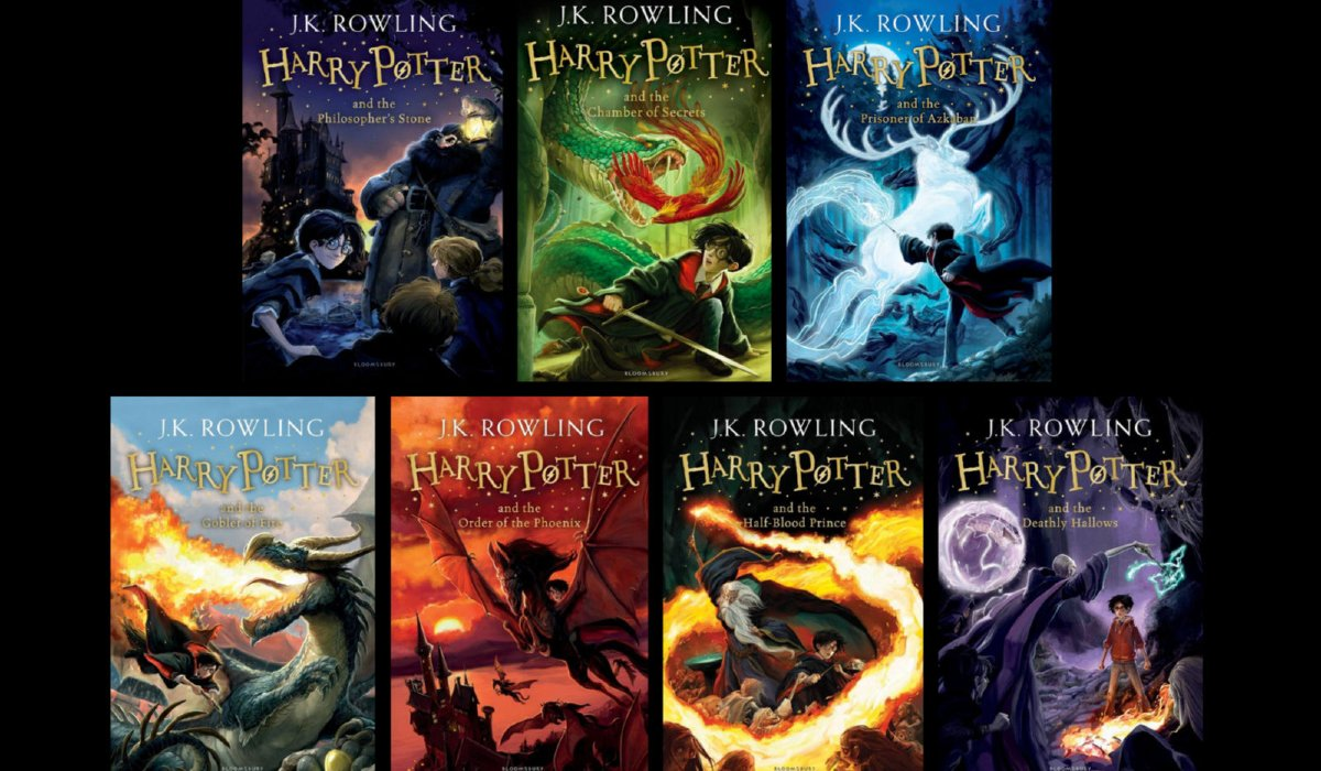 Harry Potter lineup of book covers