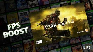 """Ein Banner für Dark Souls 3 neben dem Schriftzug """"FPS Boost"""", vor einem Hintergrund von Spiele-Covergrafiken für verschiedene Titel"""