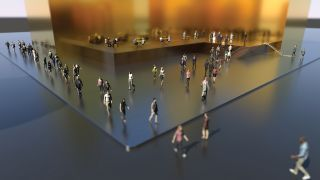3D scene of people walking around a sleek office complex