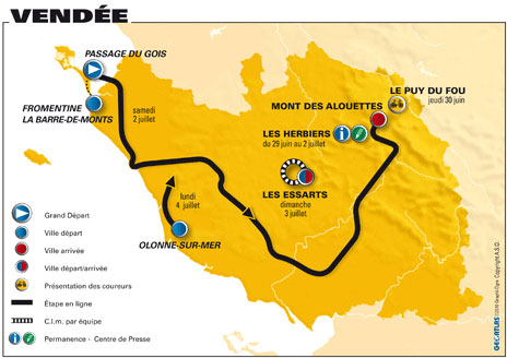 Map Of France Vendee Region.2011 Tour De France To Start In Vendee Region Cycling Weekly