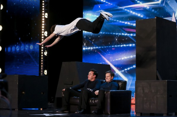 Matt jumped over BGT hosts Ant and Dec (SYCO/THAMES TV)