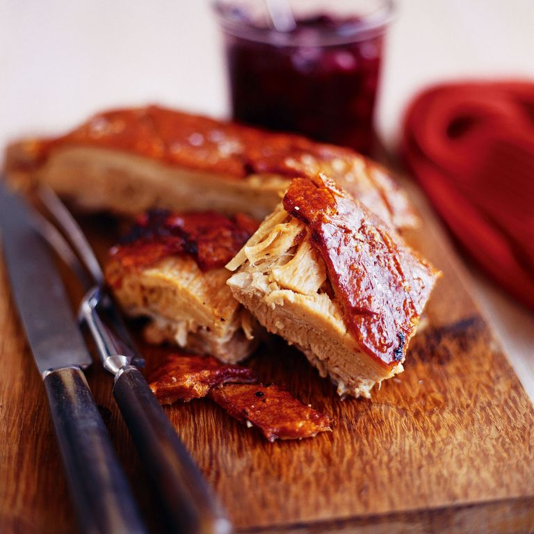 Roast Pork belly with Sour Cherry Chutney recipe-recipe ideas-new recipes-woman and home