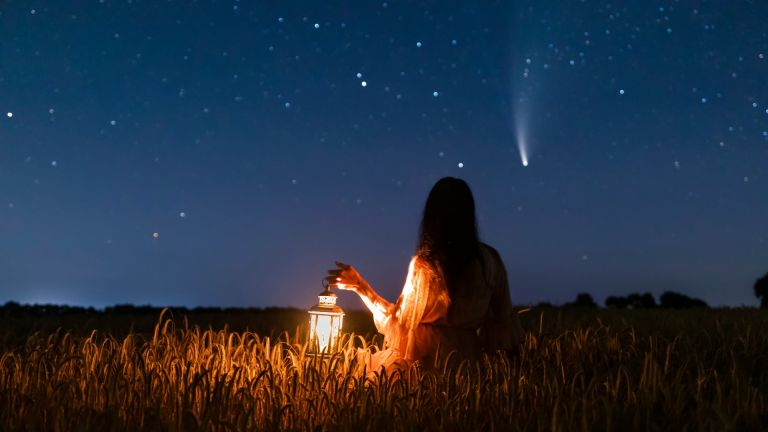 Woman looking at constellations
