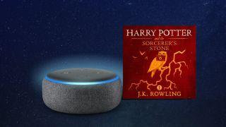 Alexa smart speaker next to cover image of Harry Potter book