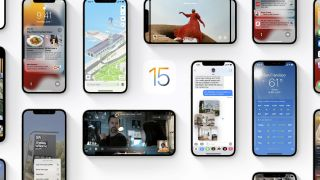 A selection of iOS 15 screenshots showing how the software works