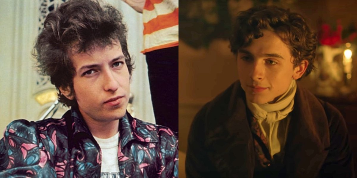 A side-by-side comparison of Bob Dylan and Timothée Chalamet