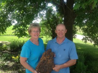 Bruce and Nelva Lilienthal With Discovered Meteorite