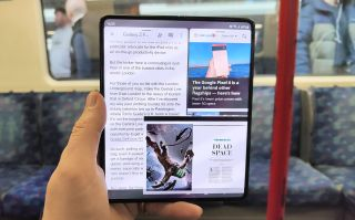 A photo of the Samsung Galaxy Z Fold 3 on the London Underground