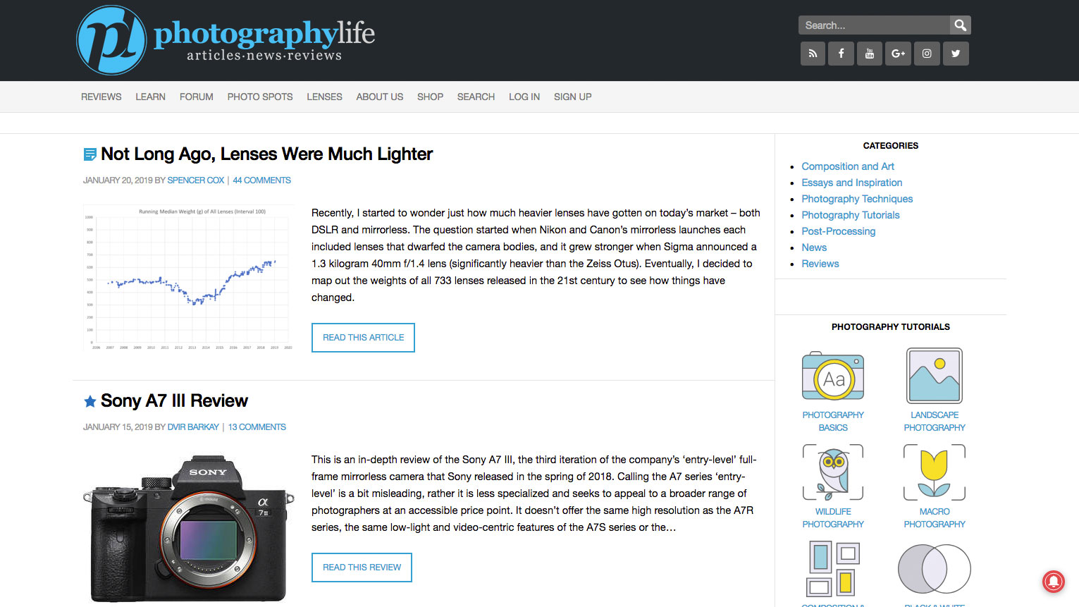 Photography websites: Photography Life