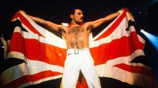 Freddie Mercury onstage at Knebworth: August 9, 1986