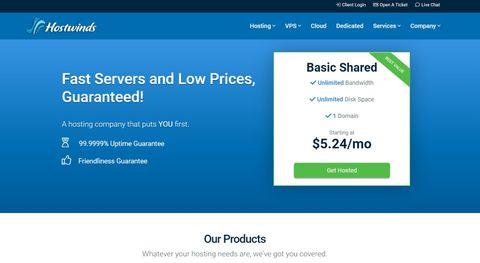 Hostwind's homepage