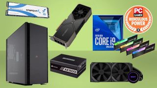 Various high-end pc components in front of a lime green background with a PC Gamer badge that says ridiculous power in the top right corner.