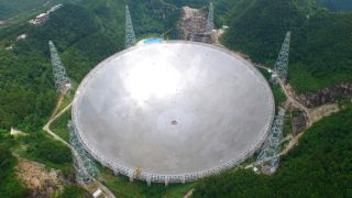 The Five-hundred-meter Aperture Spherical radio Telescope (FAST) in southwest China's Guizhou Province.