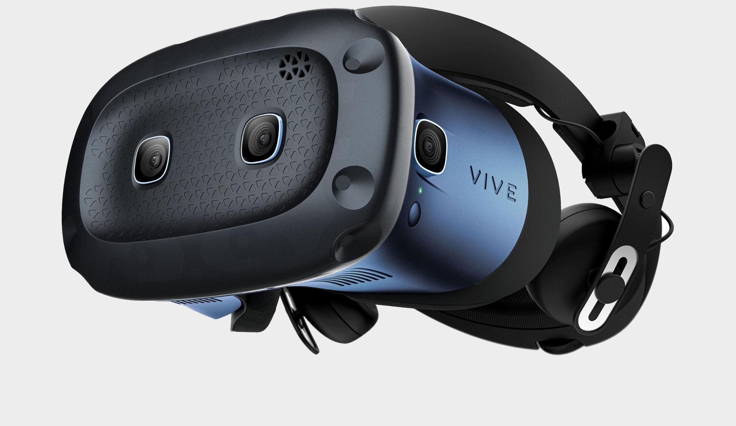 A HTC Vive Cosmos Elite headset picture from the side on a grey background