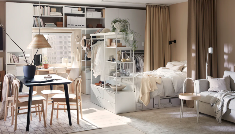 Ikea open plan room with room divider