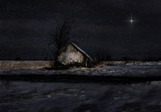 Scene of an old barn in snow under a starry night sky with a single, extra-bright star.