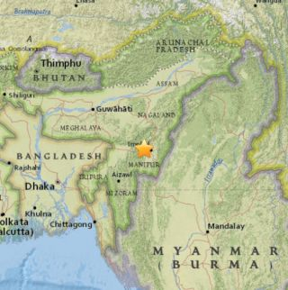 A map shows where a magnitude-6.7 earthquake hit India, about 18 miles (29 kilometers) from the city of Imphal.