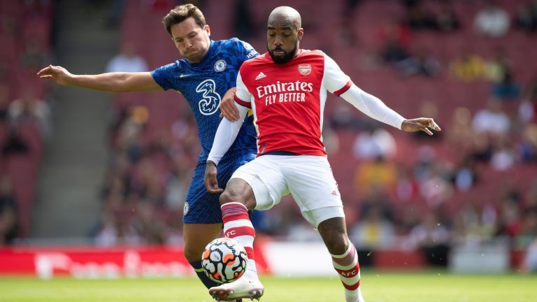 Danny Drinkwater of Chelsea and Alexandre Lacazette of Arsenal during the Pre Season Friendly between Arsenal and Chelsea at Emirates Stadium