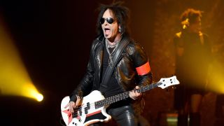 Bassist Nikki Sixx performs at the Joint inside the Hard Rock Hotel & Casino on April 10, 2015 in Las Vegas, Nevada