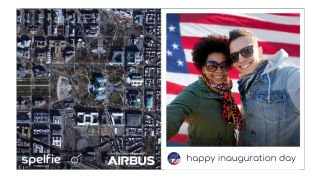 "The space-photo app spelfie will allow users to ""attend"" the Jan. 20, 2021, inauguration of President-elect Joe Biden, thanks to optimized satellite imagery."