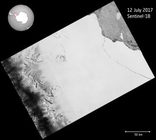The European Space Agency's Copernicus Sentinel-1 mission detected the huge chunk of ice that broke off Antarctica's Larsen C ice shelf on July 12, 2017.