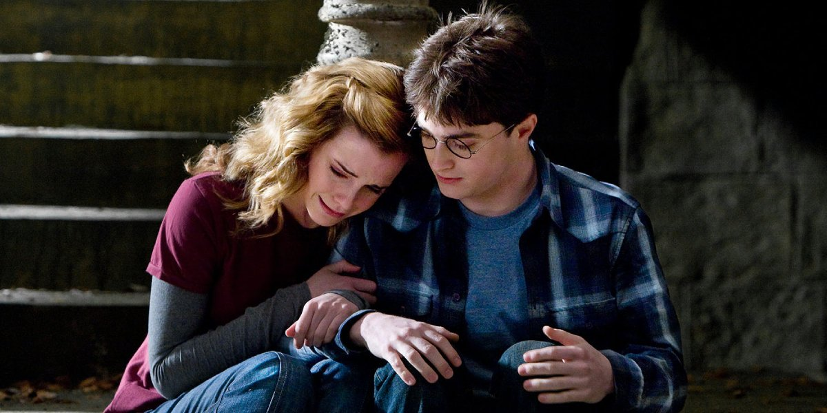 Emma Watson and Daniel Radcliffe as Hermoine Granger and Harry Potter