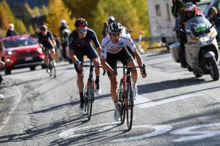 SESTRIERE ITALY OCTOBER 24 Jai Hindley of Australia and Team Sunweb White Best Young Rider Jersey Tao Geoghegan Hart of The United Kingdom and Team INEOS Grenadiers during the 103rd Giro dItalia 2020 Stage 20 a 190km stage from Alba to Sestriere 2035m girodiitalia Giro on October 24 2020 in Sestriere Italy Photo by Tim de WaeleGetty Images