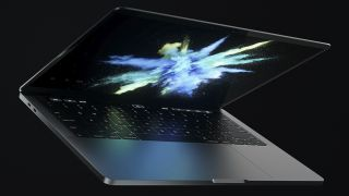 A photo of a MacBook Pro on a black background.